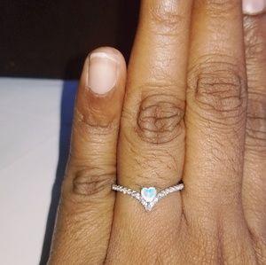 Heart Shaped White Opal Ring